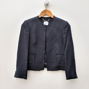 Walter Baker | Navy Distressed Hem Pocket Blazer